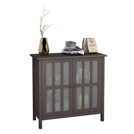 Costway Storage Buffet Cabinet Glass Door Sideboard Console Table Server Display - Console Table Cabinet