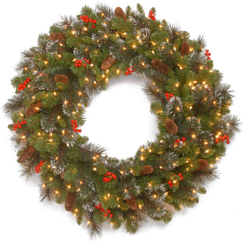"National Tree Pre-Lit 30"" Crestwood Spruce Wreath with Silver Bristle, 12 Cones, 12 Red Berries, Glitter and Battery Operated LED Lights with Timer"