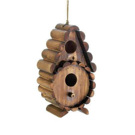 - Birdhouse, Round Log Wooden Hanging Outdoor Rustic Decorative Bird House