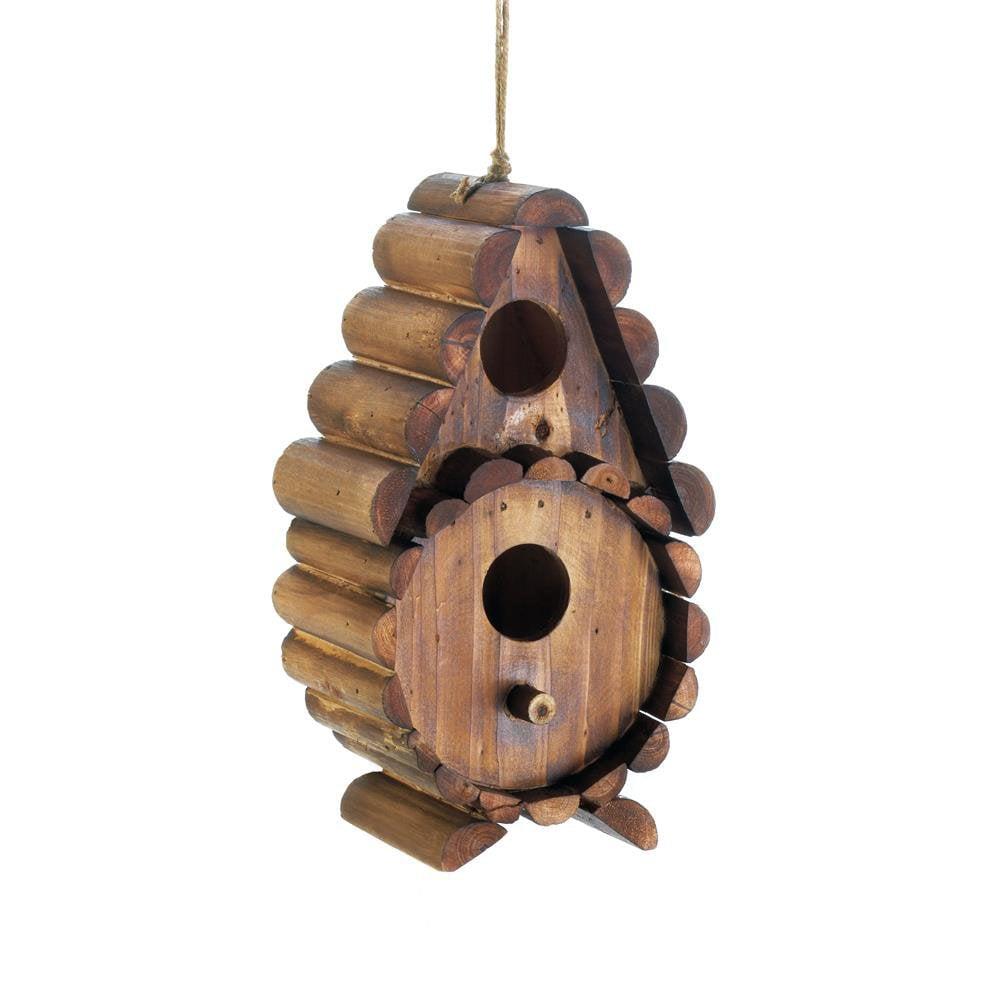 Birdhouse, Round Log Wooden Hanging Outdoor Rustic Decorative Bird House