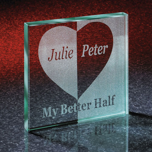 Personalized Better Half Glass Block