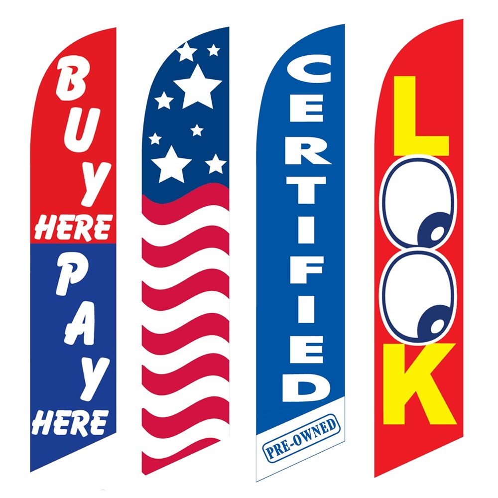 4 Advertising Swooper Flags Buy Pay Here USA Certified Pre Owned Look