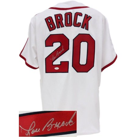 Lou Brock Auto St. Louis Cardinals Majestic Cooperstown Collection Jersey JSA by