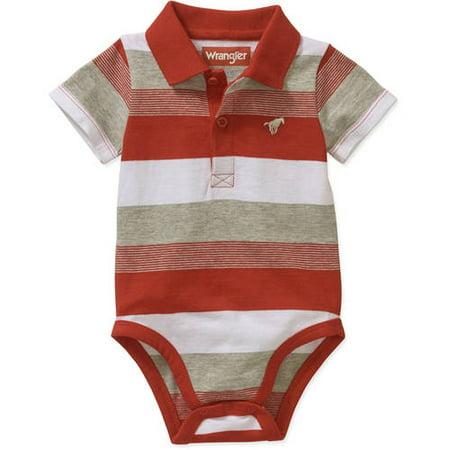Wrangler Newborn Baby Boys' Knit Polo Bodysuit