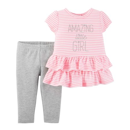 Baby Girl Short Sleeve Ruffle Top & Leggings, 2pc Outfit Set - German Girl Outfits