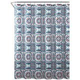 Floral Medallion Embossed Fabric Shower Curtain Pattern Geometric Design 72 by 72 Inches Green Coral