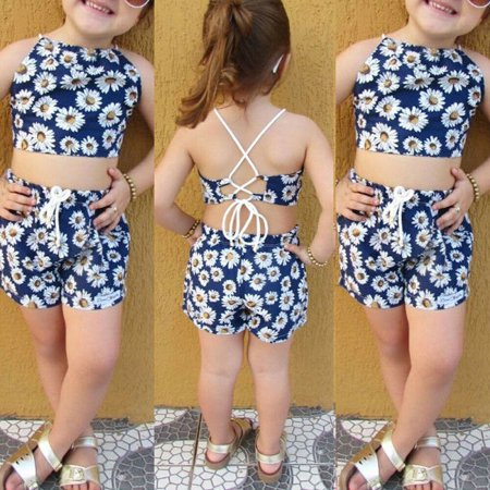 Newborn Kid Baby Girls Clothes Set Floral Backless Crop Vest Tops Shorts Holiday Clothes](Kids Holiday Clothing)