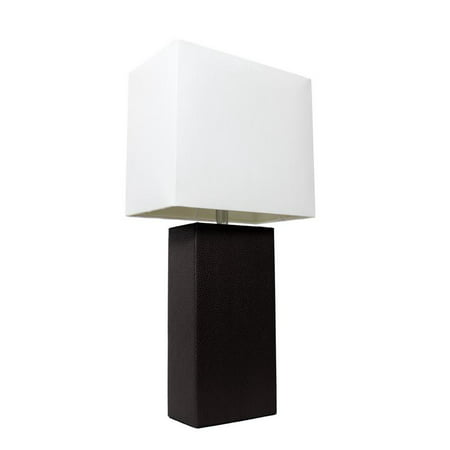 Elegant Designs Modern Leather Table Lamp with White Fabric (Aqua Seas Table Lamp)
