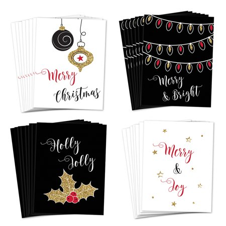 Christmas Greeting Cards 24 Pack w Envelopes 4 Elegant Festive Assorted Designs Send Holiday Wishes Season's Greetings to School Teachers Neighbors Friends 24 Variety Boxed Set by Digibuddha VHA0046B ()