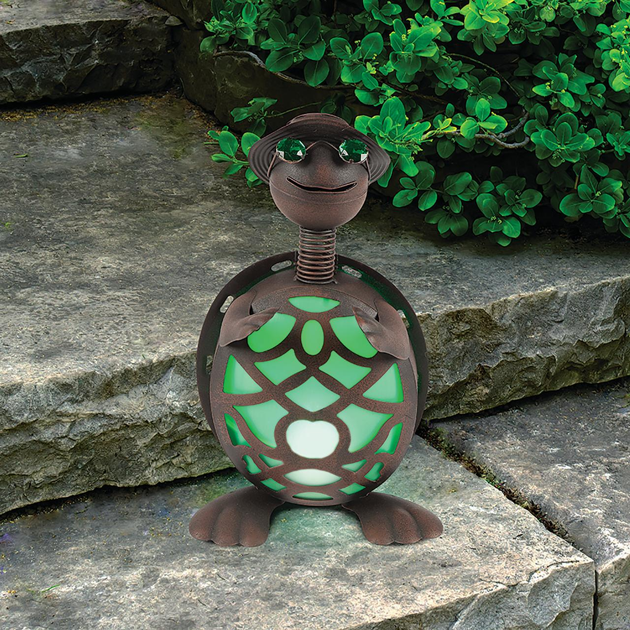 Solar Lit Turtle with Soft Green Glow Brown Metal Decor Indoor Outdoor Accessory