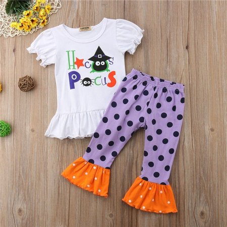 Toddler Kids Baby Girls Halloween Outfits Clothes T-shirt Tops+Long Pants 2PCS Set