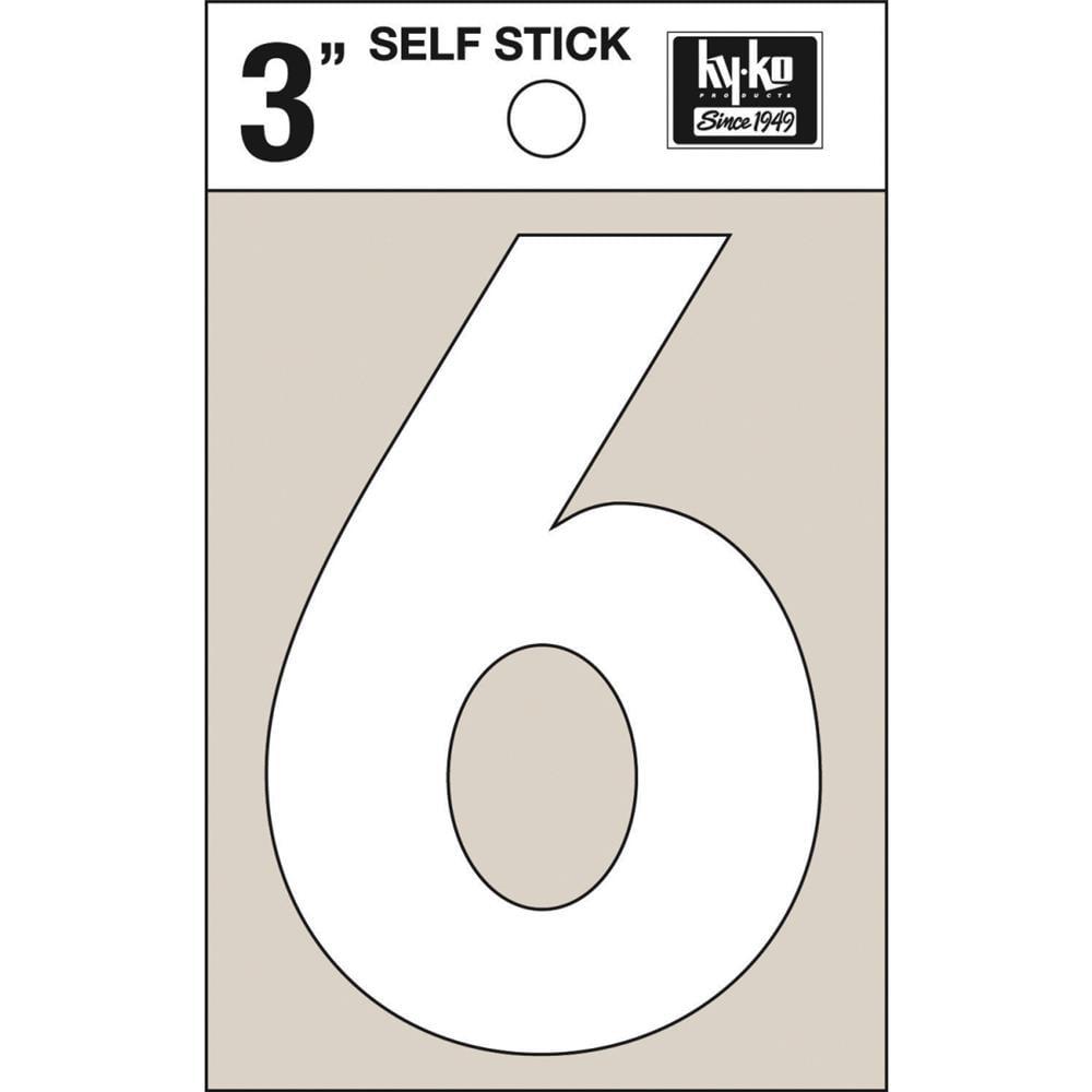 """Hyko Prod. 3"""" White Vinyl Number 6 30506 Pack of 10"""
