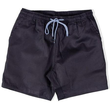 - Mens Elastic Waist Shorts Drawstring Chino Twill Chubbies Walkshort(Large, Black)