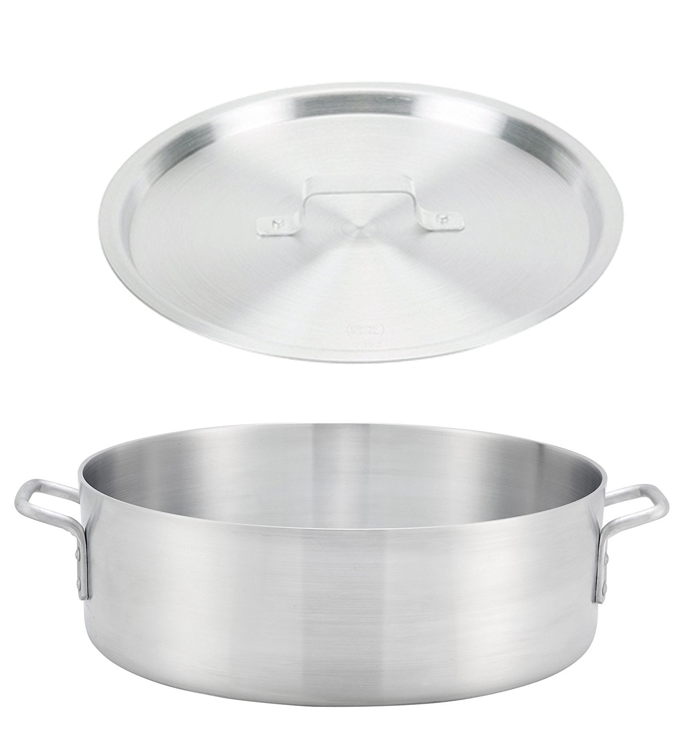 """Winco ALB-40, 40-Quart 22.8"""" x 6"""" Standard Heavy Aluminum Brazier Pan with Cover, Heavy-Duty Commercial Grade Braiser Pan with Lid, NSF image"""