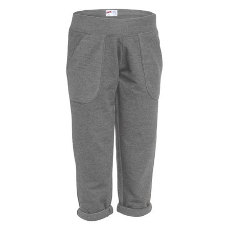 Girl French Terry Comfy Capri, Charcoal Heather - Extra Large