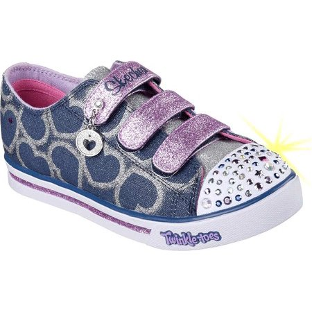 Infant Girls Skechers Twinkle Toes Shuffles Glitter Heart Sneaker