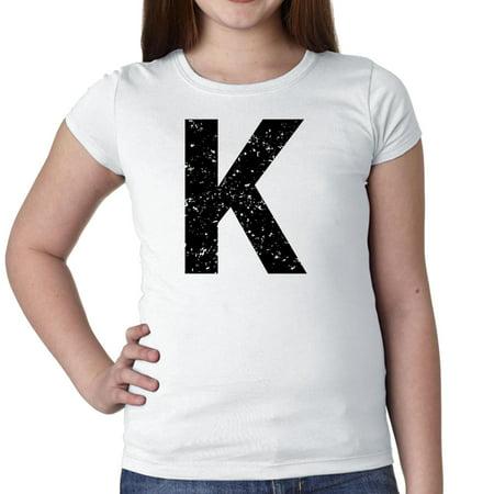 Monogram - K - Letter in Stately Black Girl's Cotton Youth - Monogrammed Kids Clothing
