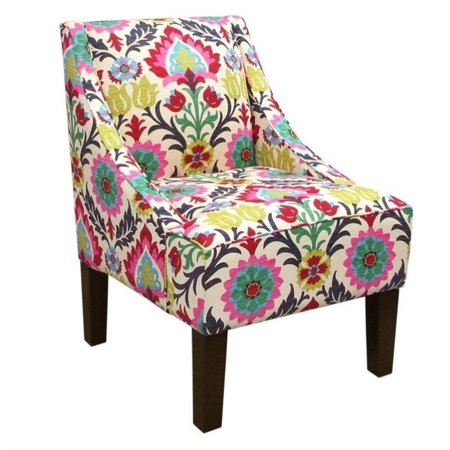 Skyline Upholstered Swoop Fabric Club Arm Chair In Santa