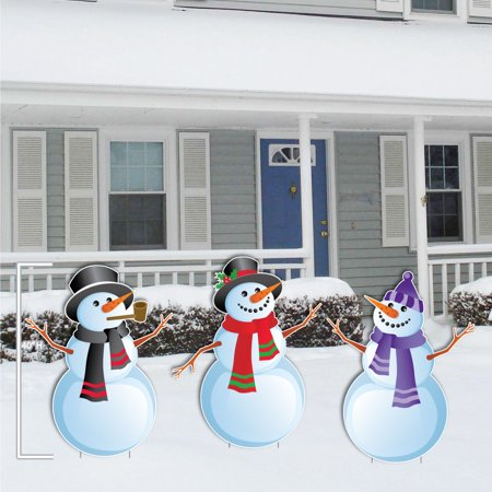 christmas snowmen stand up yard decorations includes 6 short stakes. Black Bedroom Furniture Sets. Home Design Ideas