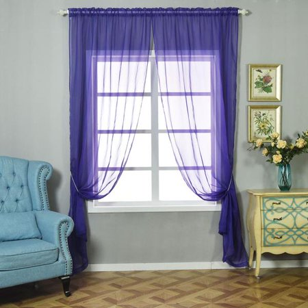 BalsaCircle 2 pcs 52 x 108-Inch Sheer Organza Curtains Drapes Panels Window Treatments - Home Decorations ()