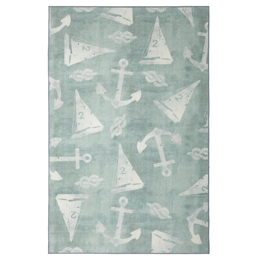 Mohawk Prismatic Area Rugs - Z0304 A489 Contemporary Dark Sea Green Sailing Boat Anchors Rope Rug