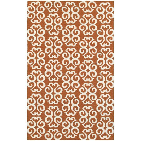 Tommy Bahama Atrium Area Rugs - 51107 Contemporary Orange Curls Waves Outdoor Curves Rug ()
