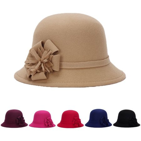 New Women Lady Vintage Wool Round Fedora Bow Cloche Derb Felt Bowler Cap - Red And Black Fedora Hat