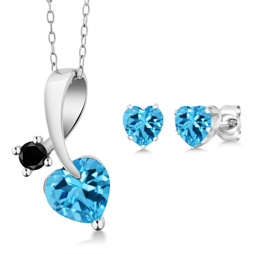 2.72 Ct Heart Shape Swiss Blue Topaz and Black Diamond 925 Sterling Silver Pendant Earrings Set by