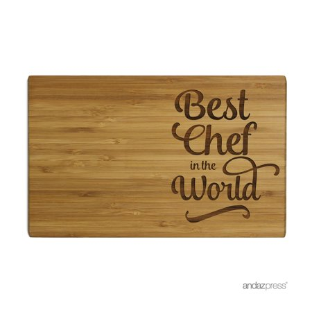 Andaz Press Laser Engraved Small Bamboo Wood Cutting Board, 9.5 x 6-inch, Best Chef in the World,