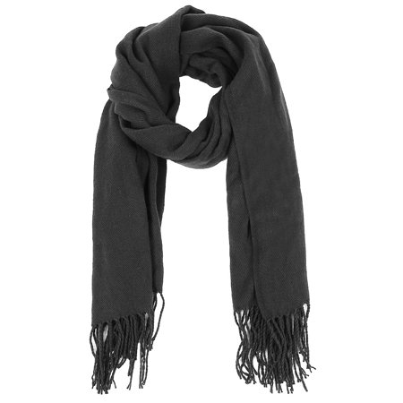 Vbiger Winter Warm Scarf Thick Shawl Unisex Oversize Scarves with Tassels for Both Men and Women, Dark -