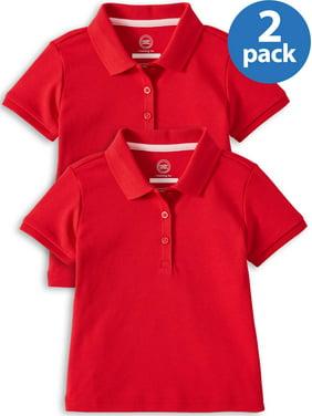 Wonder Nation Toddler Girls School Uniform Short Sleeve Interlock Polo, 2-Pack Value Bundle (Toddler Girls)