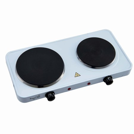 MegaChef Electric Easily Portable Ultra Lightweight Dual Burner Cooktop Buffet Range in Sleek White