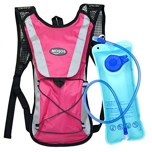 MOSOS Cycling Hydration Pack Water Backpack Hiking Climbing Pouch with 2L Hydration Bladder-Pink by