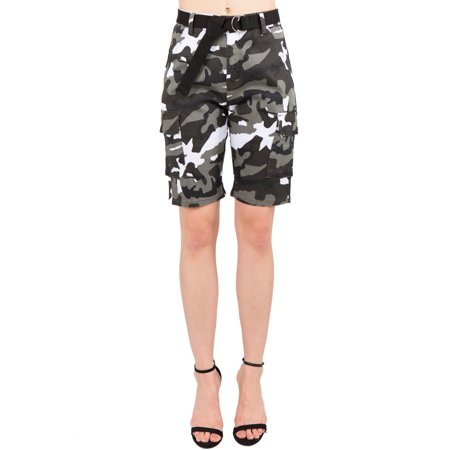 Love Life Short (Love Moda Women's Slim Fit Camouflage Belted Bermuda Shorts)