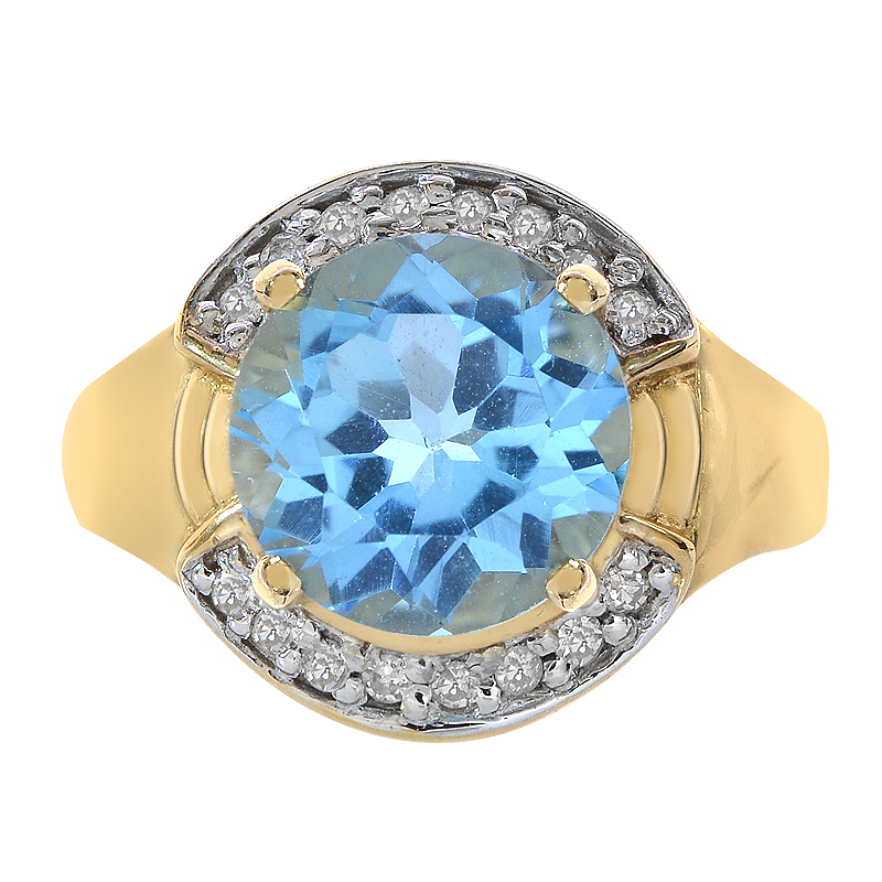 3.50 Carat Blue Topaz and 0.16 Carat Diamond Ring 14K Yellow Gold by