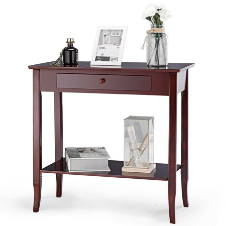 - Gymax Console Table Classic 2 Tier Porch Table Lower Shelf Drawer Cherry Color