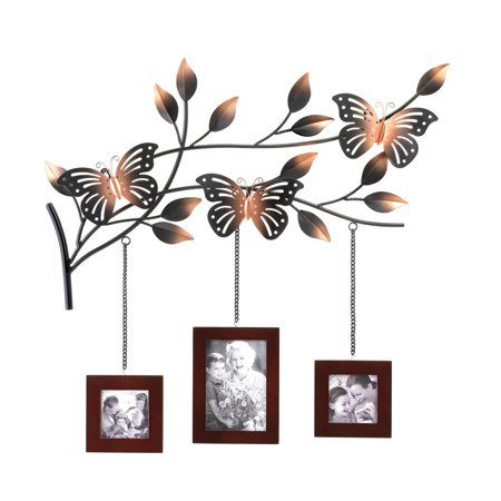 Meigar Butterfly Picture Photo Memories Frames Hanging Wall Decor Home Decor (3 wooden frames not included)