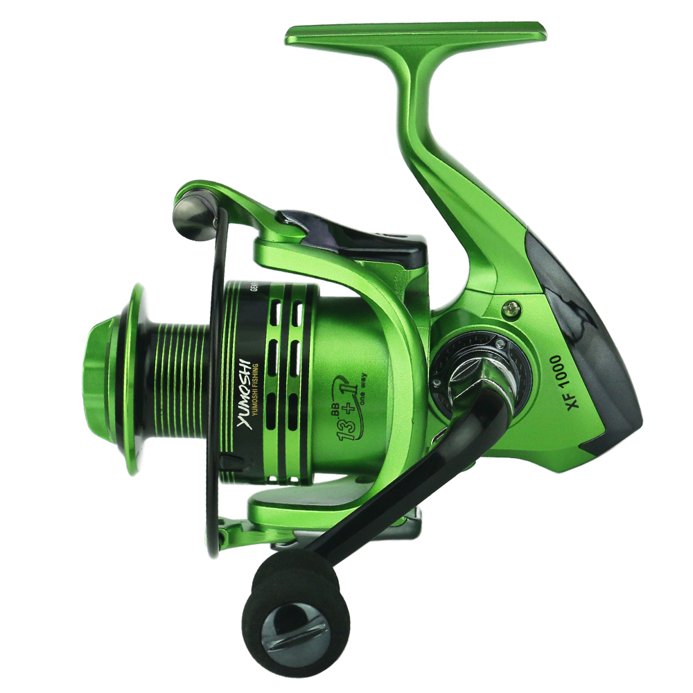 13+1 Ball Bearings Spinning Fishing Reel Dual Brake System Smooth Metal Spool Left and Right Interchangeable Collapsible Rocking Handle
