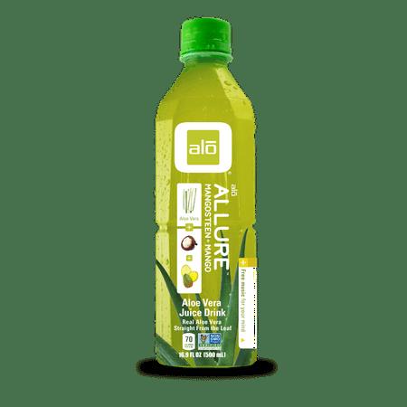 Image of Alo Allure Aloe Vera Juice Drink, Mangosteen; Mango, 16.9 Fl Oz, 12 Count