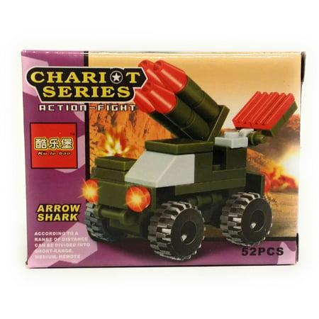 - Chariot Series Arrow Shark Truck Blocks 52pc Building Set, Green Red