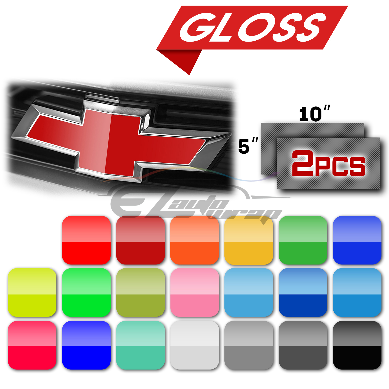 "2Pcs 5""x10"" Chevy Emblem Bowtie Gloss Black Vinyl Wrap Sticker Decal Film Sheet"