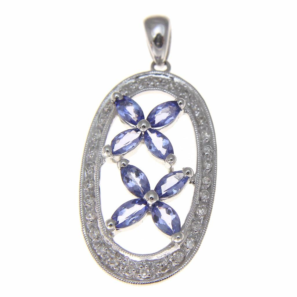 1.20ct genuine marquise tanzanite diamond pendant set in solid 14k white gold by