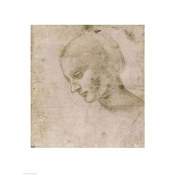 Head of a Young Woman or Head of the Virgin Poster Print by Leonardo Da  Vinci - Walmart.com