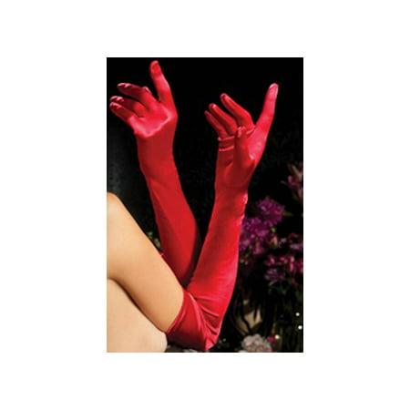 Seven til Midnight Red Satin Opera Length Gloves 40109-R Red