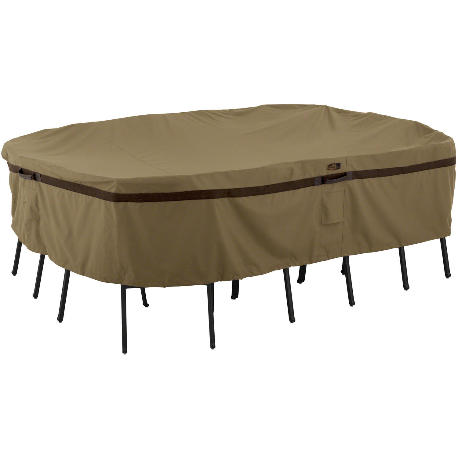 Classic Accessories Hickory Table and Chair Patio Furniture Storage Cover, Rectangular/Oval, Medium, Tan