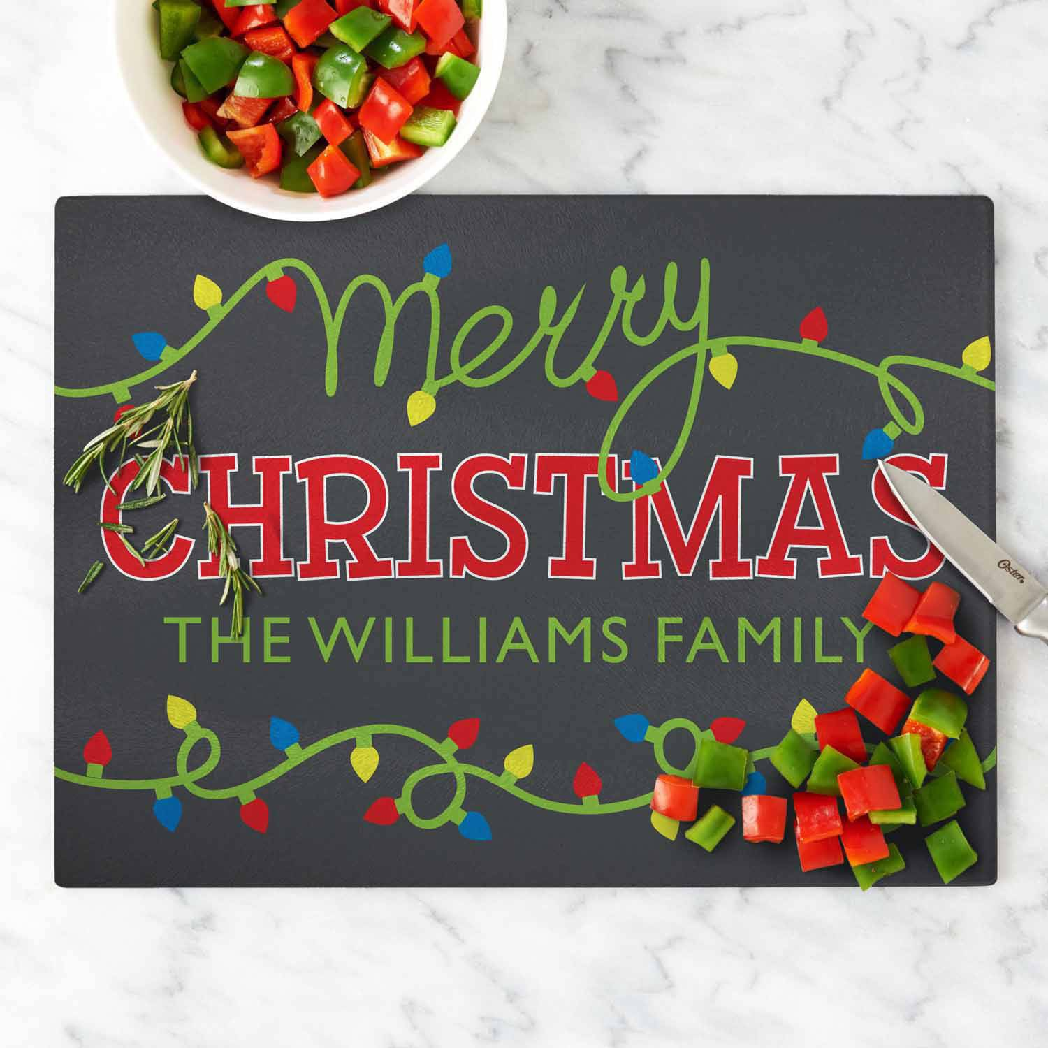 Personalized Merry Christmas Lights Glass Cutting Board