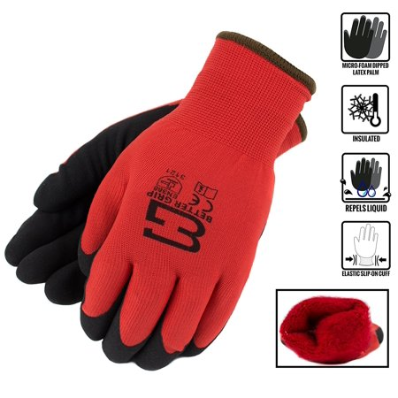 Better Grip Winter Insulated Double Lining Rubber Coated Work Gloves, 3 pairs/pack, Red /