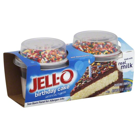 Jell-O Birthday Cake Pudding Snack, 2.75 Oz., 2 Count