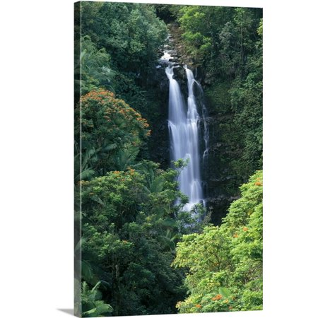 Great Big Canvas Brent Black Premium Thick Wrap Canvas Entitled Hawaii  Big Island  Hamakua Coast  Waterfall Surrounded By Greenery