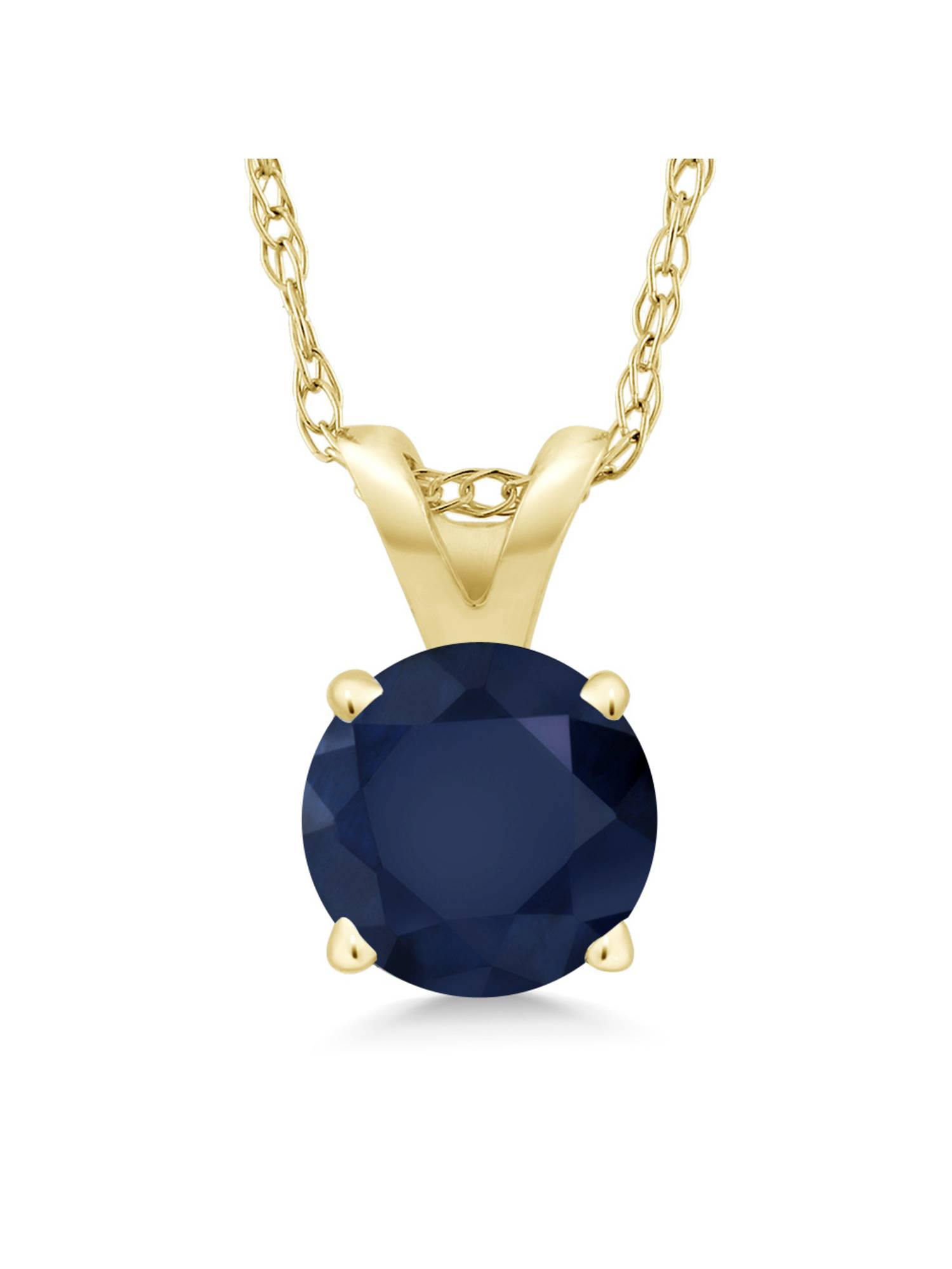 """14K Yellow Gold Blue Sapphire Pendant Necklace (1.00 Ct Round; With 18"""" Chain) by"""